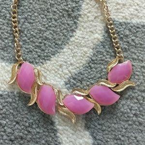 Purple leaf lilac gold necklace